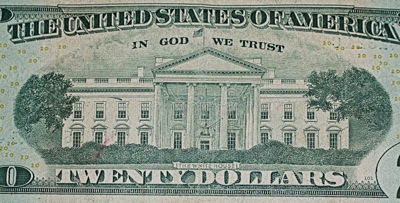 Parte trasera del billete de dólar veinte fotografía de archivo libre de regalías