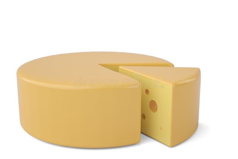 Parte triangular de ícone do queijo do queijo ilustração 3D ilustração do vetor