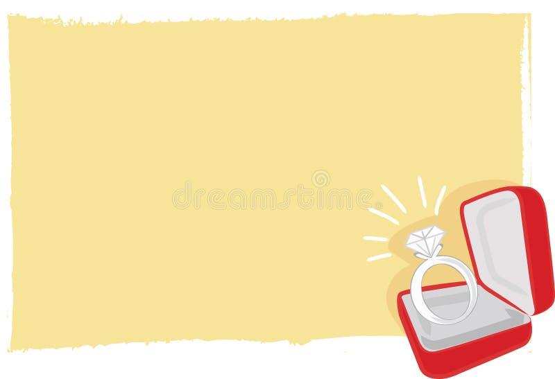 Partecipazione di nozze - anello di diamante illustrazione vettoriale