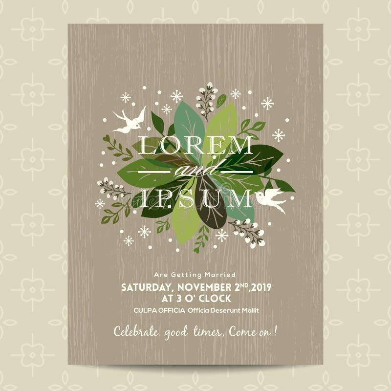Partecipazione di nozze con fondo floreale verde sveglio illustrazione di stock