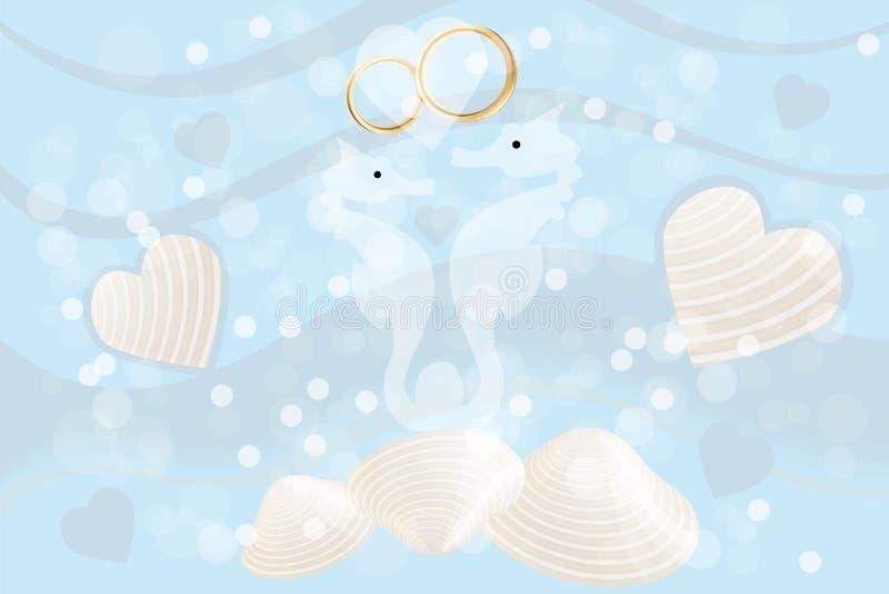 Partecipazione di nozze con gli ippocampi e gli anelli illustrazione di stock