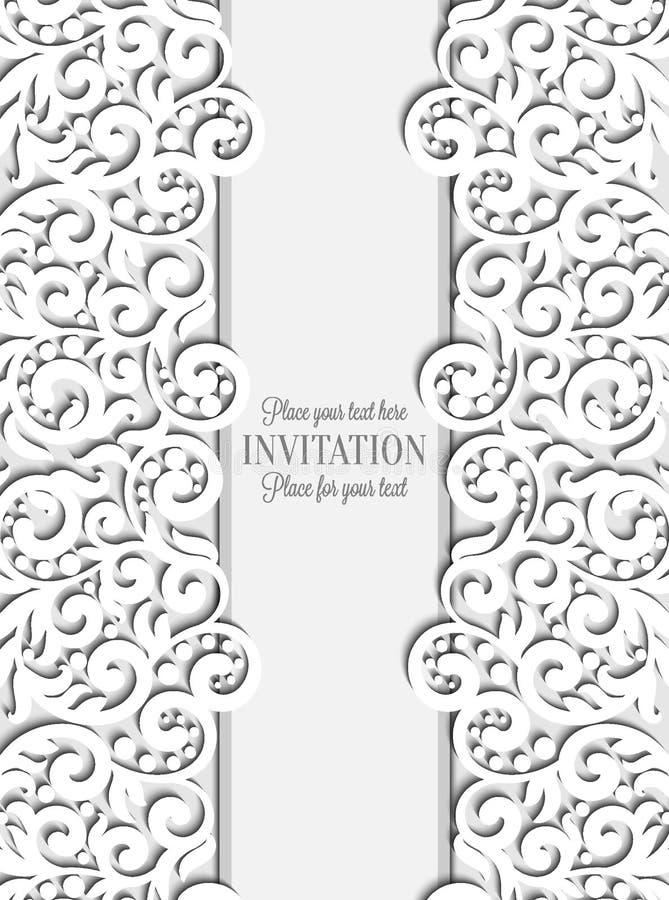 Partecipazione di nozze con la struttura di carta del pizzo, centrino di pizzo illustrazione vettoriale
