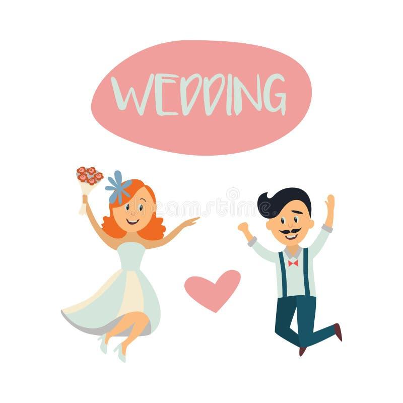 Partecipazione di nozze con le coppie, la sposa e lo sposo divertenti illustrazione di stock