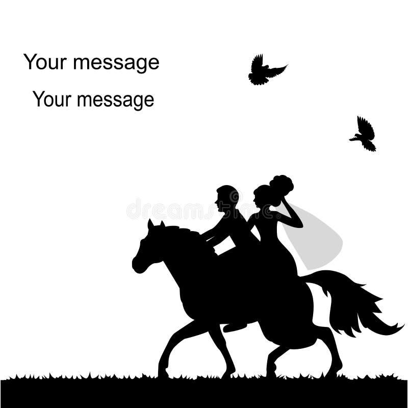 Partecipazione di nozze con una sposa e uno sposo su un cavallo royalty illustrazione gratis