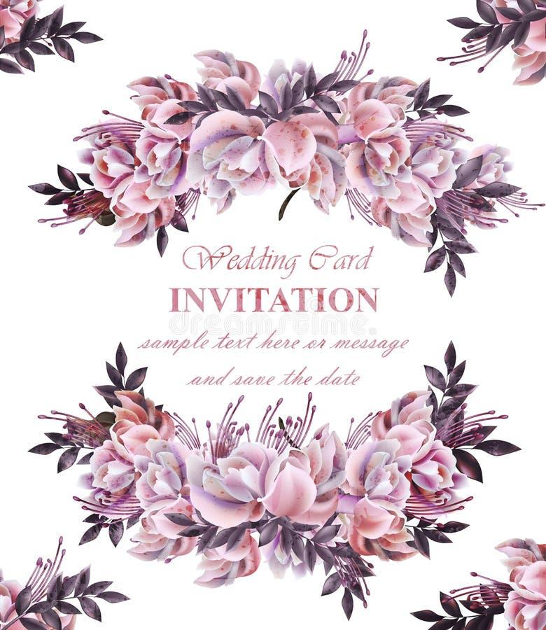 Partecipazione di nozze d'annata con il vettore della corona delle rose Bella ghirlanda dei fiori Decorazione elegante 3d realist royalty illustrazione gratis
