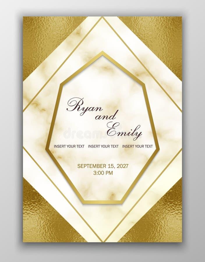 Partecipazione di nozze dorata Struttura dettagliata di marmo Priorità bassa del reticolo di vettore Struttura geometrica dell'or illustrazione vettoriale