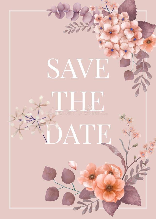 Partecipazione di nozze floreale di tema di rosa royalty illustrazione gratis