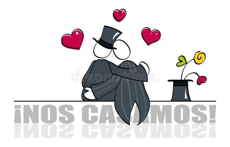 Partecipazione di nozze gaia divertente illustrazione vettoriale