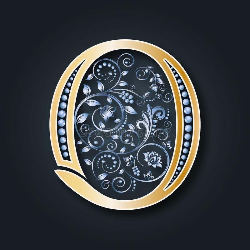 Partecipazione di nozze Lettera O di vettore Alfabeto dorato su un fondo scuro Un simbolo araldico grazioso Le iniziali del monog royalty illustrazione gratis