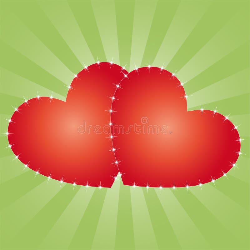 Partecipazione di nozze o del biglietto di S. Valentino illustrazione vettoriale