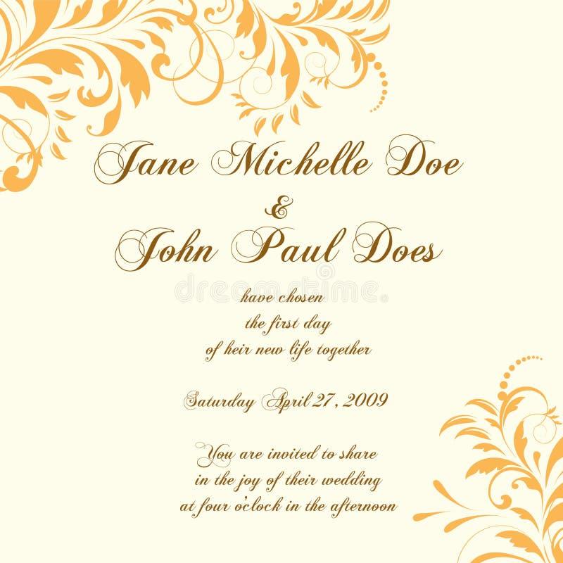 Partecipazione di nozze o invito con Ba floreale astratto illustrazione vettoriale