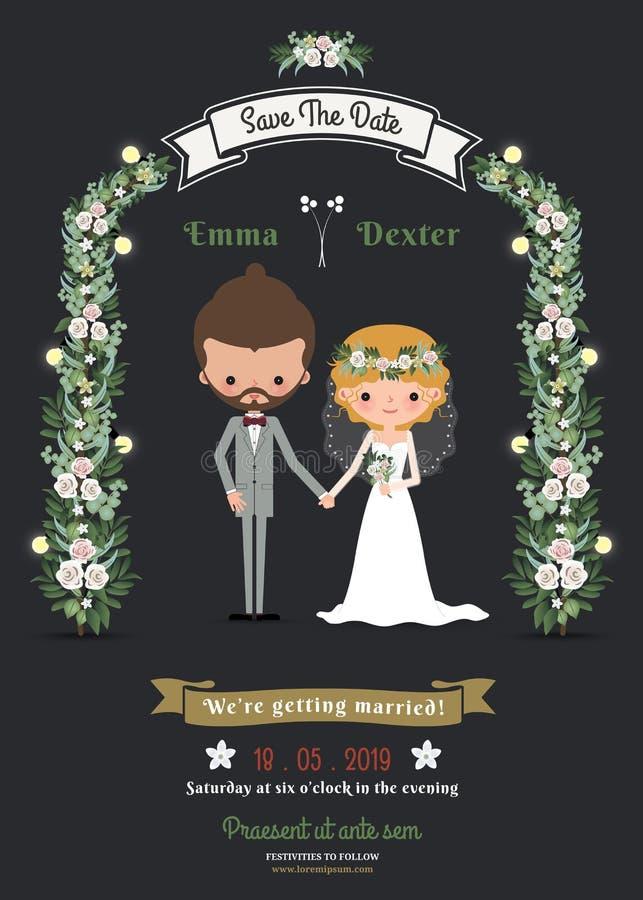 Partecipazione di nozze romantica delle coppie del fumetto dei pantaloni a vita bassa rustici illustrazione vettoriale