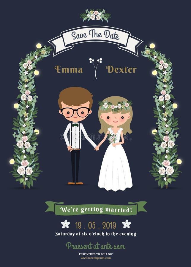 Partecipazione di nozze romantica rustica delle coppie del fumetto illustrazione vettoriale