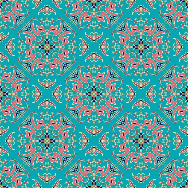 Parteern sans couture de couleur de mandala de zentangle de dessin de main Style italien de majolique illustration libre de droits