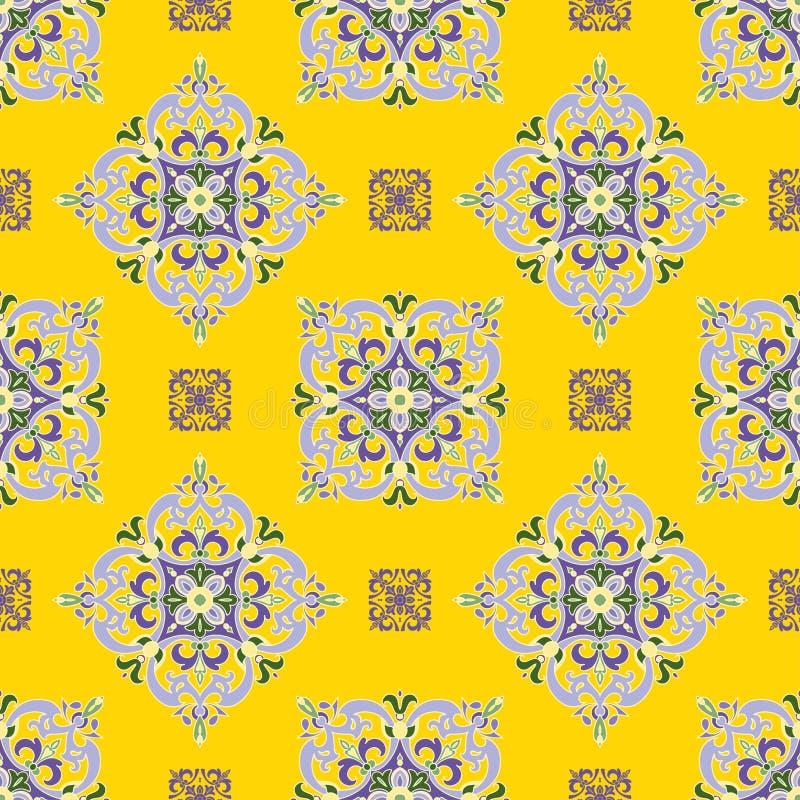 Parteern senza cuciture di colore della mandala dello zentangle del disegno della mano Stile italiano della maiolica illustrazione di stock