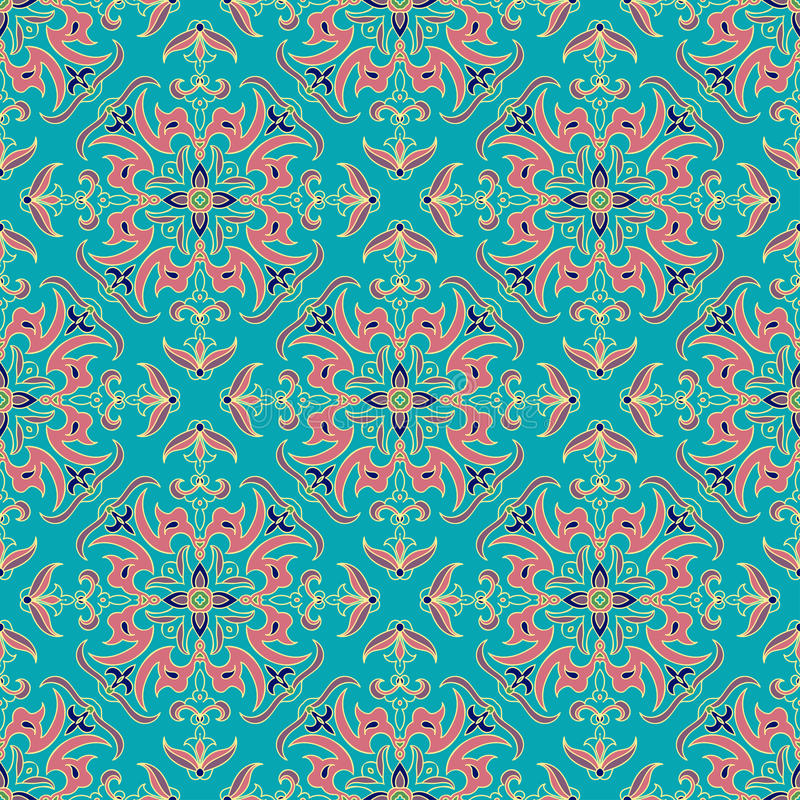 Parteern senza cuciture di colore della mandala dello zentangle del disegno della mano Stile italiano della maiolica royalty illustrazione gratis