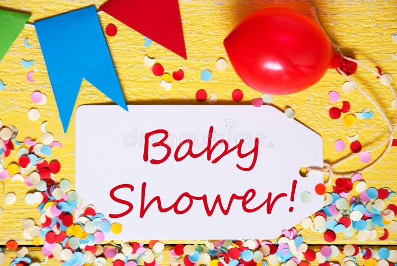 Partei-Aufkleber, roter Ballon, Text-Babyparty lizenzfreies stockfoto
