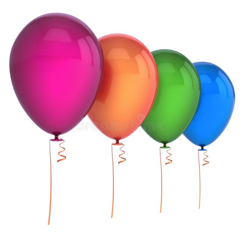 Partei-Geburtstagsdekoration mehrfarbige vier der Ballone 4 lizenzfreie abbildung