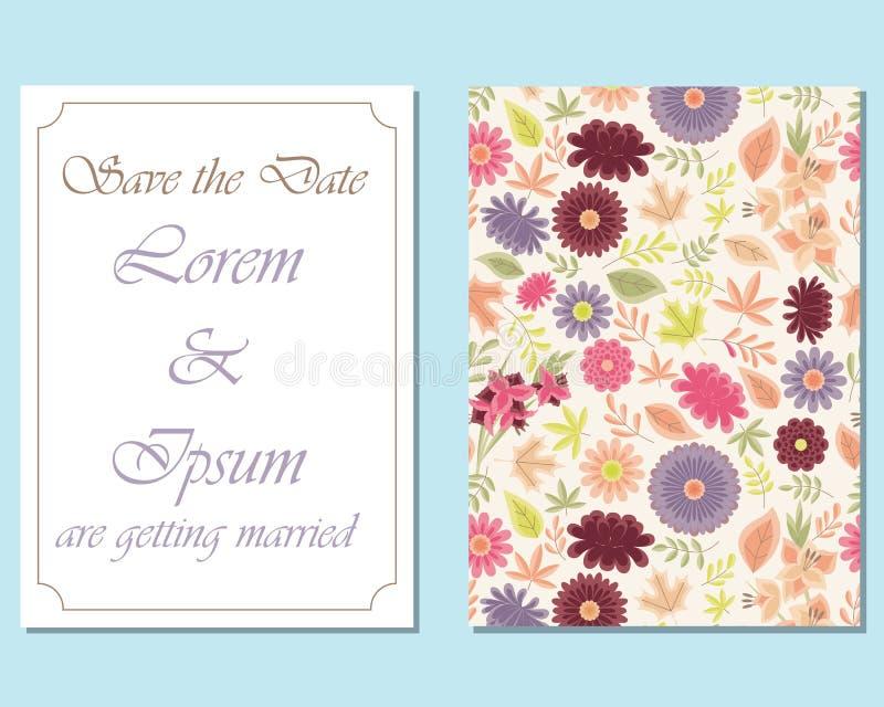 Partei-Karten-Entwurf mit Blumen und Streifen lizenzfreie abbildung