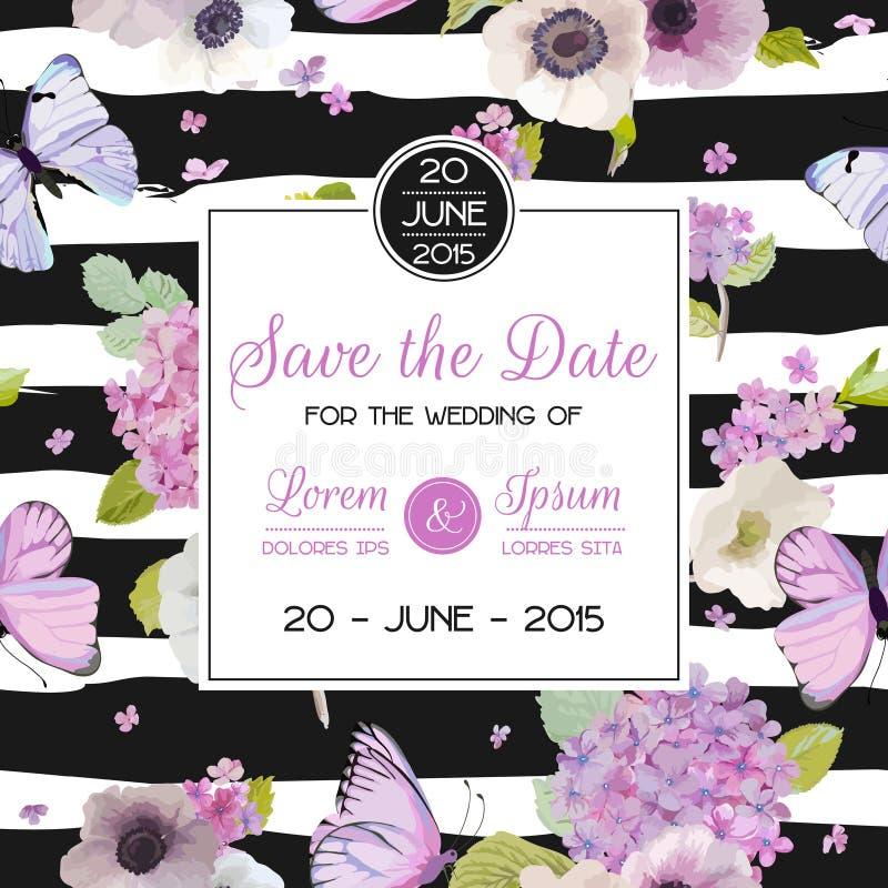 Partei-Karten-Entwurf mit Blumen und Streifen Speichern Sie die Datums-Karte mit Schmetterlingen und Hortensie-Blumen Gruß der Bl lizenzfreie abbildung