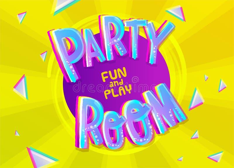 Partei-Raum-Karikatur-Aufschrift auf buntem gelbem Hintergrundesprit stock abbildung