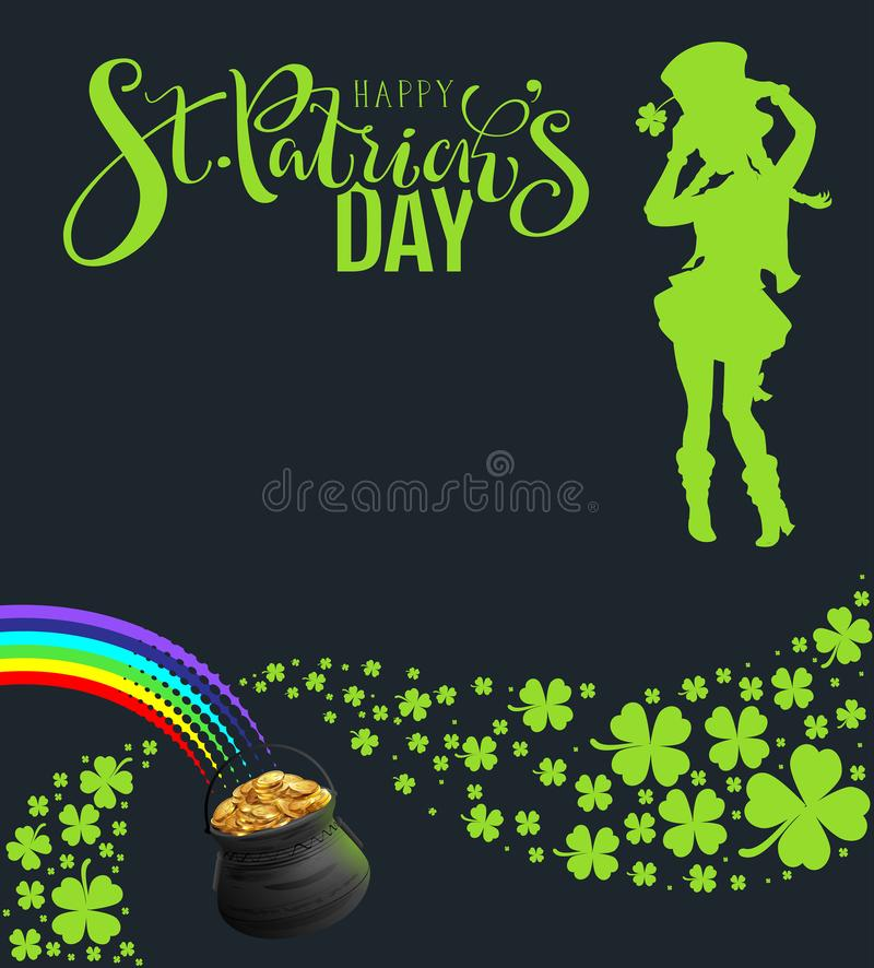 Partei-Schablonenfahne St. Patricks Tages Grünes Schattenbild der tanzenden Frau auf schwarzem Hintergrund stock abbildung