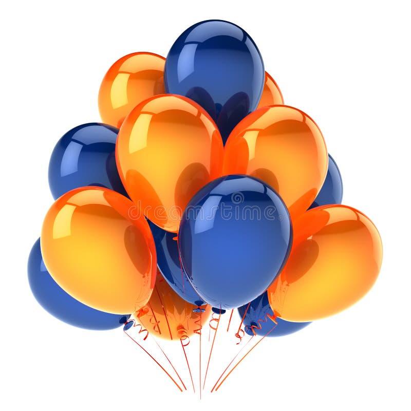 Partei steigt orange blaues buntes im Ballon auf Heliumballonbündel lizenzfreie abbildung