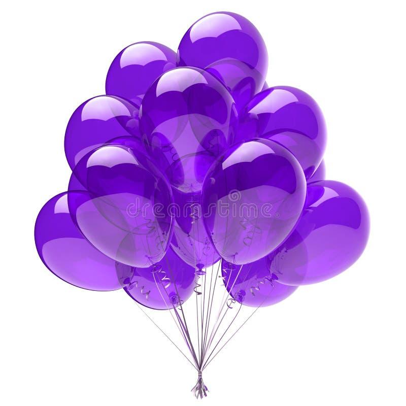 Partei steigt violettes glattes des purpurroten Heliumballon-Bündels im Ballon auf vektor abbildung