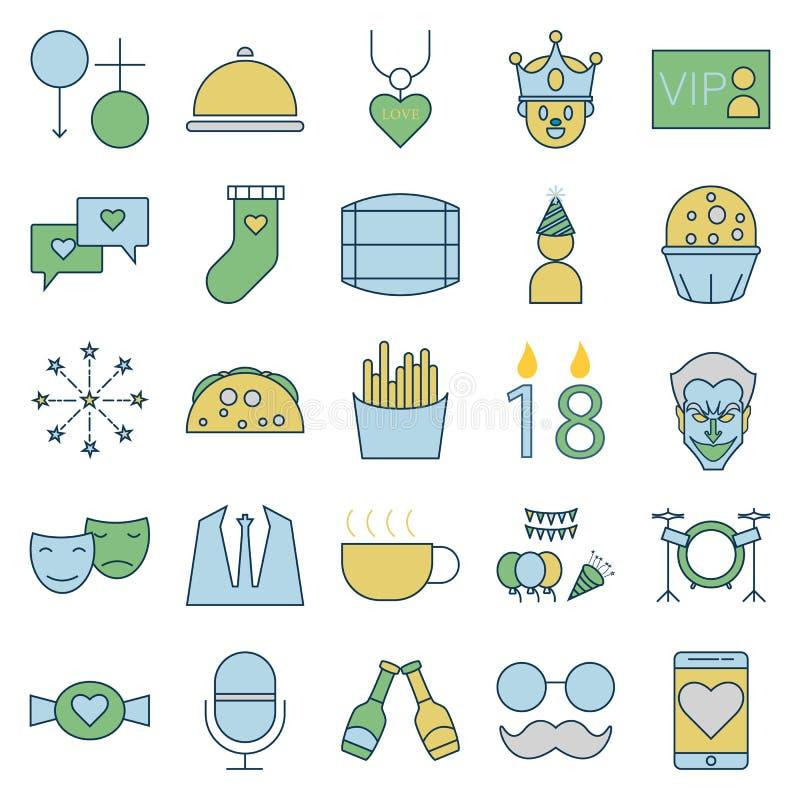 Partei und Feier zeichnen und füllen lokalisierte Vektor-Ikonen stock abbildung