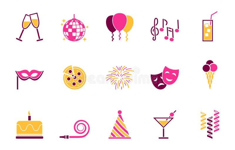Partei- und Geburtstagsikonensatz stock abbildung