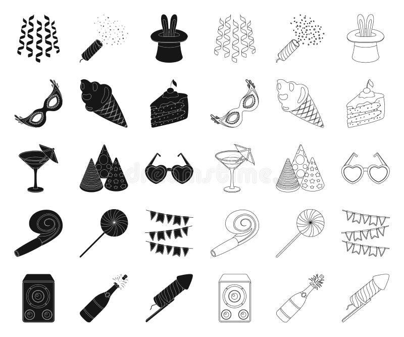Partei, Unterhaltung schwarz, Entwurfsikonen in gesetzter Sammlung für Entwurf Feier- und Festlichkeitsvektorsymbol-Vorratnetz vektor abbildung