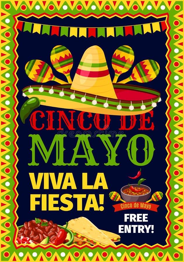 Partei-Vektorplakat Cinco de Mayo-Fiestas mexikanisches vektor abbildung