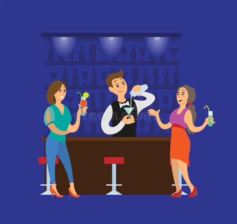 Partei-Verein, der Leute mit Cocktail-Getränken mit einer Keule schlägt stock abbildung