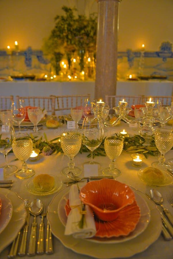 Partei verlegt Dekoration, Abendessen-Bankett, Hochzeit oder Geburtstags-Ereignis lizenzfreies stockbild