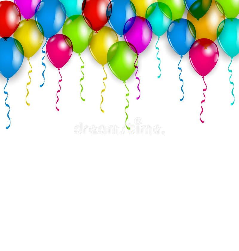 Parteidekoration mit bunten Ballonen für Ihren Feiertag stock abbildung