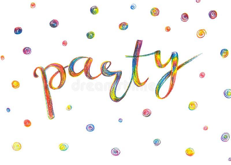 Parteieinladungsbeschriftung, Hand gezeichnet mit farbigen Bleistiften in r lizenzfreie stockfotos