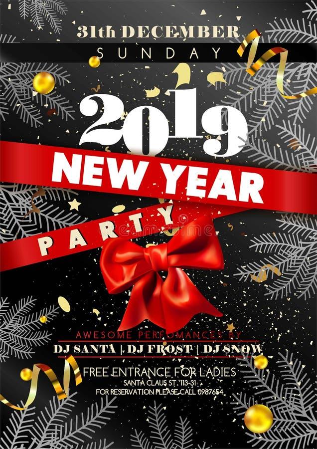 Parteieinladungsplakat des neuen Jahres mit Datum und Tag stock abbildung