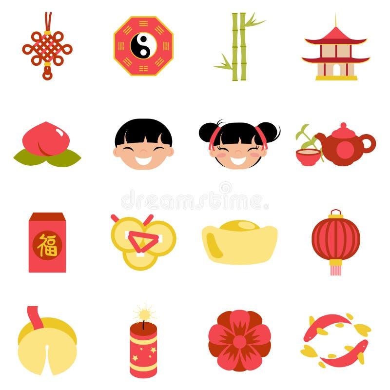 Parteifeiertagsikonen des neuen Jahres der Feier stellten chinesische flache Entwurfsvektorillustration ein stock abbildung