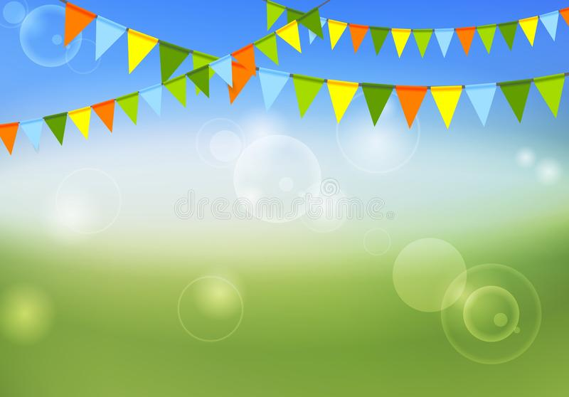 Parteiflaggen feiern abstrakte Hintergrund- und Sommerfarben lizenzfreie abbildung