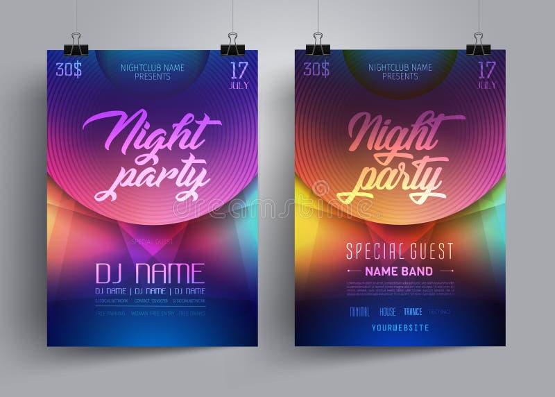 Parteiflieger- oder -plakatplanschablone für Disco-Tanz-Verein oder DJ auf dem Hintergrund von Neonlichtern in einem techno reden stock abbildung