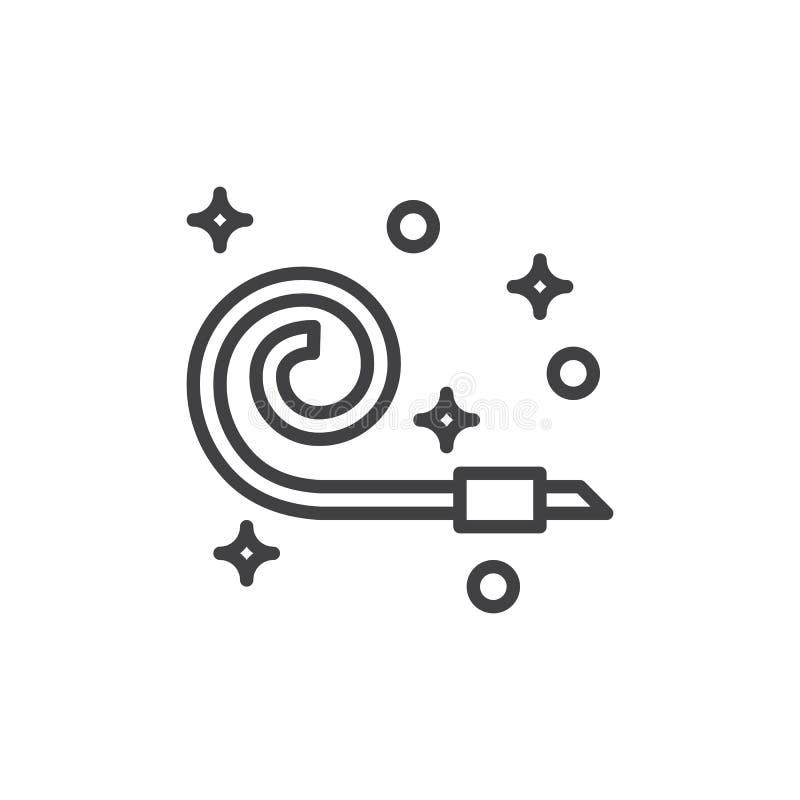 Parteihornistlinie Ikone, Entwurfsvektorzeichen, lineares Artpiktogramm lokalisiert auf Weiß vektor abbildung