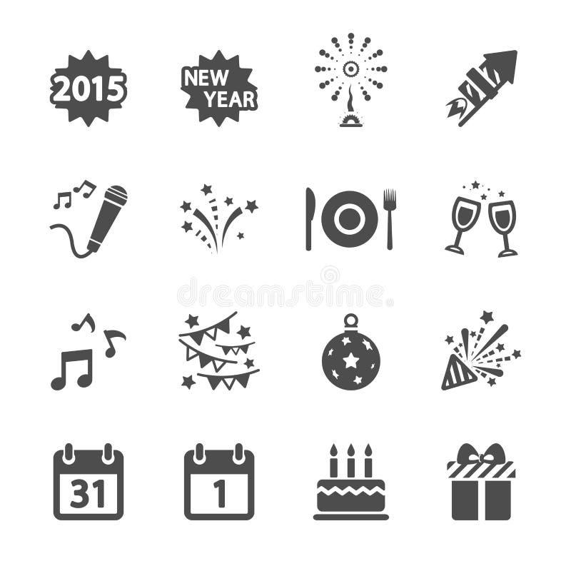 Parteiikonensatz des neuen Jahres, Vektor eps10 vektor abbildung