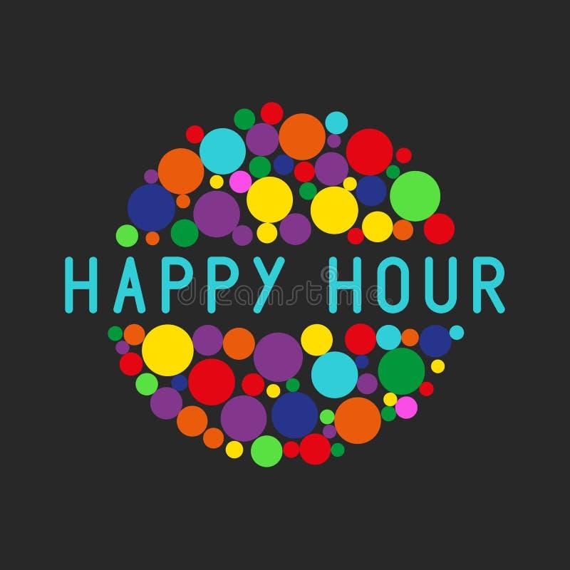 Parteiplakat der glücklichen Stunde, bunte Blasen des freien Cocktails trinken lizenzfreie abbildung