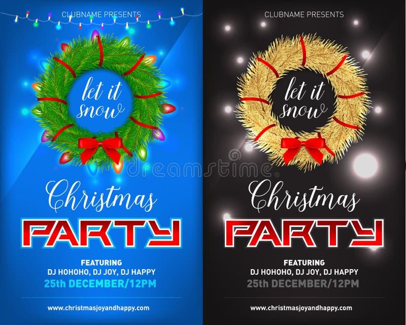 Parteiplakat der Heiligen Nacht, Einladung, Karte, Fliegersatz Auch im corel abgehobenen Betrag stock abbildung