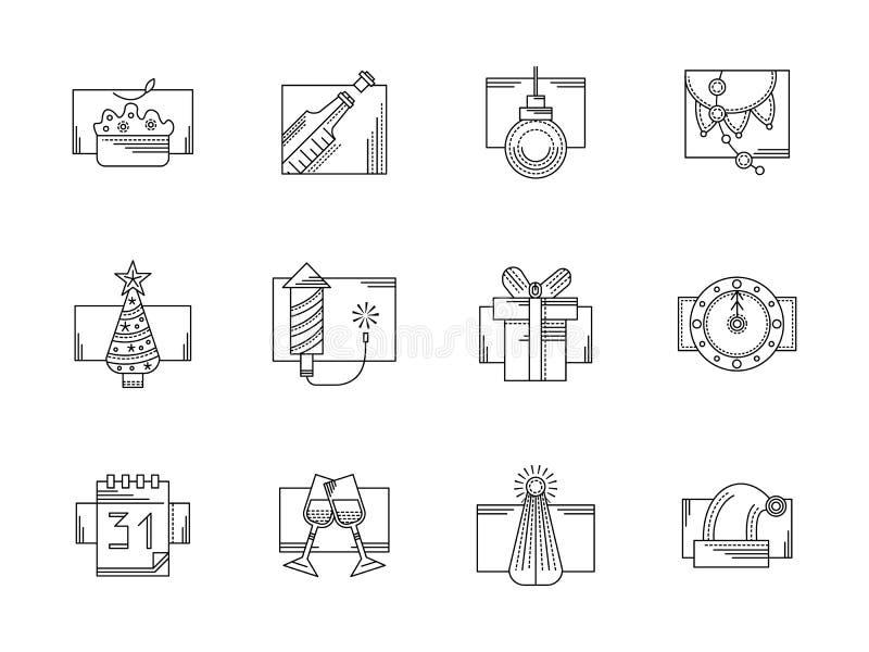 Parteischwarzlinie Ikonen des neuen Jahres eingestellt lizenzfreie abbildung
