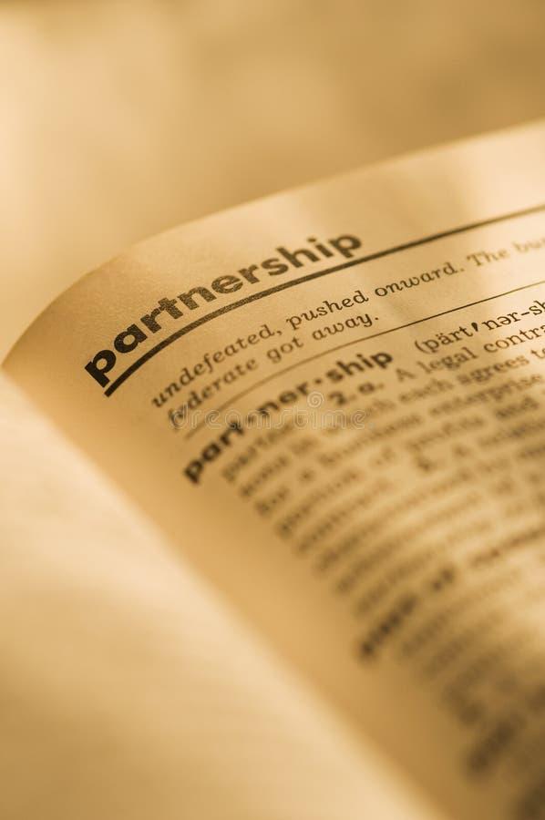 Partenariat en dictionnaire photo stock