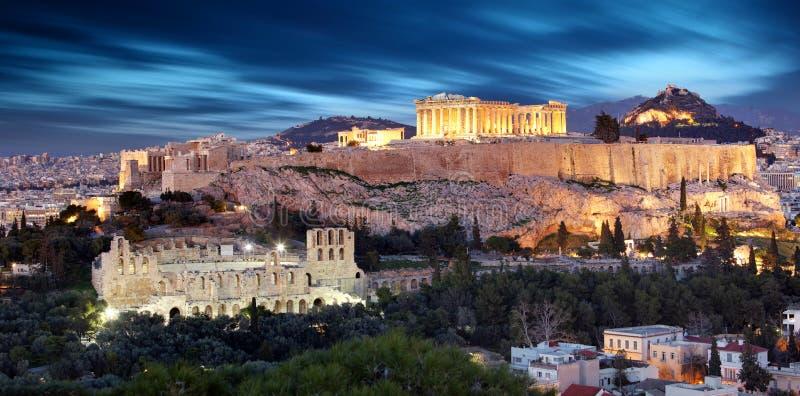 Partenone di tempo di Atene al crepuscolo, Grecia - esposizione lunga fotografia stock