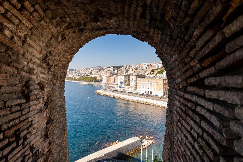 Partenope Street in the Naples Bay. Seafront view from the windows of egg castle, Castel dell`ovo, of Naples, Italy stock images