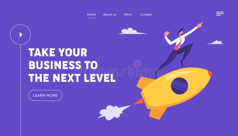 Partenza creativa Rocket Launch Mosca del carattere dell'uomo di affari sull'innovazione di sviluppo di progetto di direzione del illustrazione vettoriale