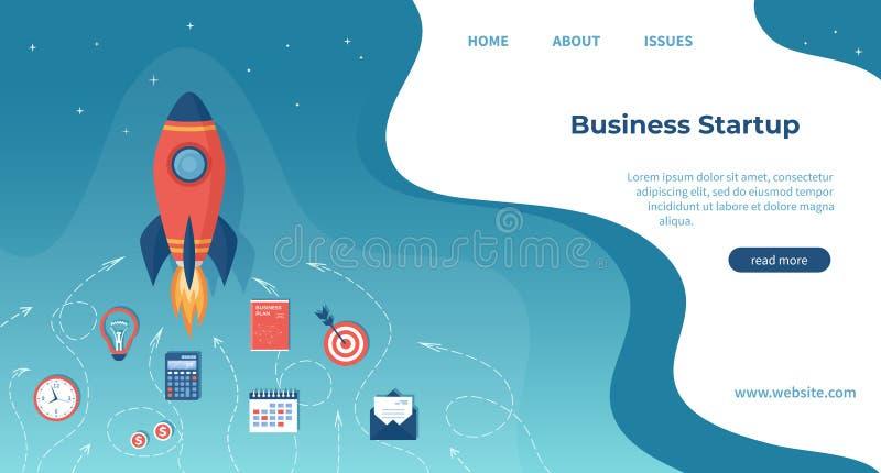 Partenza di progetto di affari, pianificazione finanziaria, processo di sviluppo di idea, strategia, gestione, realizzazione e su illustrazione di stock